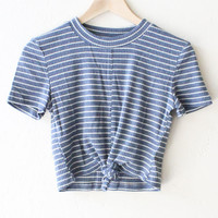 Striped Tie Front Crop Top- Blue