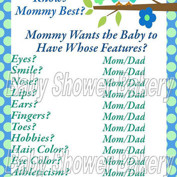 Printable Baby Shower Game, Who Knows Mommy Best Game, Owl Baby Shower Game, Boy Owl Baby Shower Game