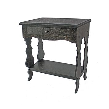 "Black Accent Table - 14"" x 28"" x 29"" Black, 1 Drawer, Vintage, Wooden - Accent Table"