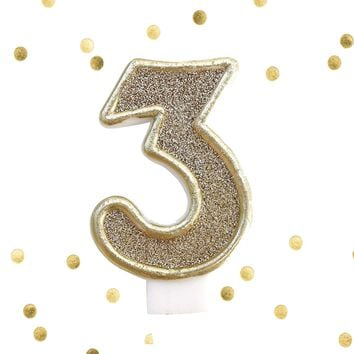 Light Gold Glitter Birthday Candle Number 3 Gold & White Anniversary Cake Topper Three