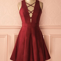 Red Deep V Neck Homecoming Dress, Simeple Summer Homecoming Dress