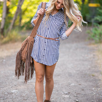 Under The Midnight Sky Plaid Belted Dress (Navy)
