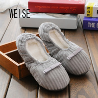 WEISE Free shipping Hot Selling Winter Women Home Slippers For Indoor Bedroom House Soft  Cotton Warm Shoes Adult Guests Flats