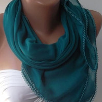 Turquoise Blue - Shawl with Lace/Cotton. Very Soft cotton fabric.