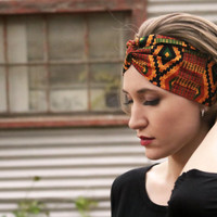 Tribal Heartbeat Vintage Headband: Retro Orange African Print, Native Faux Head Wrap for Adults, 100% Cotton Fabric