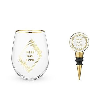 Best Day Ever Stemless Wine Glass and Stopper Set by Twine®