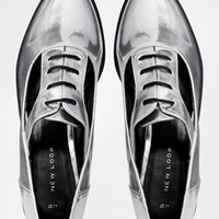 New Look Kraftwork Cut Out Silver Brogue Shoes