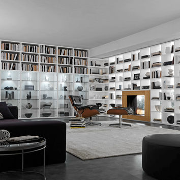 Open wall-mounted sectional bookcase COMP 338 Pari&Dispari Arrangements with fireplaces Collection by Presotto Industrie Mobili   design Pierangelo Sciuto