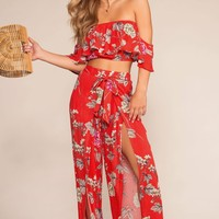 Bloom With A View High Waisted Pants - Red