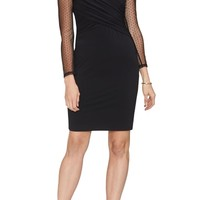 Vince Camuto Cross Front Dot Mesh Detail Dress | Nordstrom