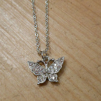 Silver Rhinestone Butterfly Necklace   Candy's Cottage