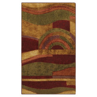 3'9 x 5'8 Abstract Area Rug in Burgundy Red Wine Green and Yellow