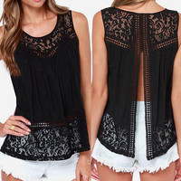 Black Open Back Lace Tank Top