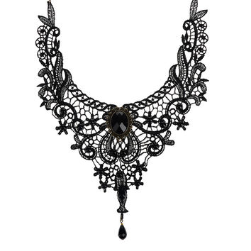Gothic Retro Vintage Steampunk Statement Necklace Black Lace Beads Rhinestone Choker Collar Necklace Fashion Jewelry