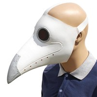 Cosplay Steampunk Plague Doctor Mask White/Black Latex Bird Beak Masks Long Nose Halloween Party Event Ball Costume Props