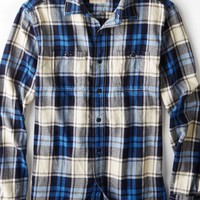 AEO 's Heritage Flannel Shirt (Blue)