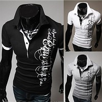 T-Shirt Mens 2016 Men'S Fashion Color Printing Shirt Short-Sleeve T Shirt Men Slim Men T-Shirt Sports Tshirt Homme XXXL S334q