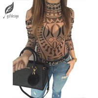 Summer New Sexy Women Ladies Casual Printing Slim Bodycon Long Sleeve Club Playsuits Jumpsuit Tops Transparent Bodysuits