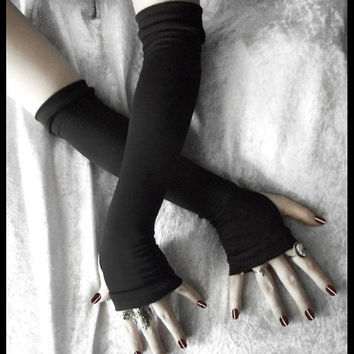 Arm Warmers Gloves in Black Soft Cotton - Simplistic Sara - Light Gothic Tribal Bellydance Yoga Goth Classic Lolita Vampire Cycling Unisex