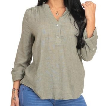Casual Button Up Olive Tunic Top