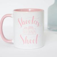 Photographer Mug 'Shooters gonna Shoot' with unique handlettered design. Pink and White 11 oz Ceramic photography mug with funny saying.