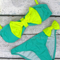 St. Croix Neon Mint & Yellow Big Bow Sailor Bikini