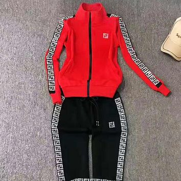 Fendi Autumn And Winter New fashion shining letter string mark print hooded long sleeve coat and pants two piece suit Red