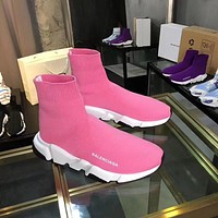 Balenciaga Speed Trainers In Pink Knit And White/black Sole Unit
