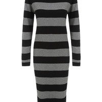 Black Grey Striped Long Sleeve Knitted Midi Dress