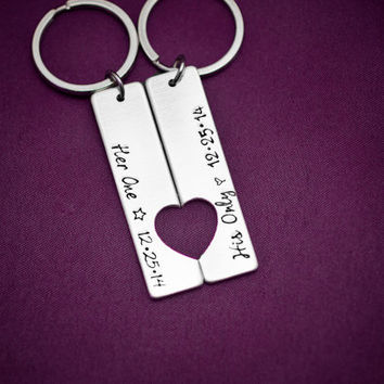 Her One, His Only with Date - Hand Stamped Aluminum Rectangle Keychains with Heart - Couple Key Chain Gift - Wedding, Anniversary, Birthday
