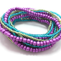 Seed bead wrap stretch bracelets, stacking, beaded, boho anklet, bohemian, stretchy stackable multi strand, purple, metallic green teal blue
