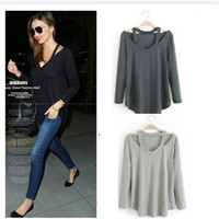 Women Fashion Long Sleeve Strapless T-shirt