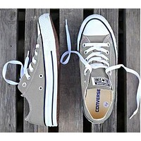 Converse Fashion New Canvas Solid Color Women Men Sports Leisure Shoes Gray