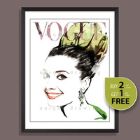 Fashion Illustration, fashion poster, fashion print, Vogue print, Vogue poster, Vogue cover 50s, Vogue magazine, vintage Vogue cover, 3243