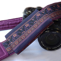 Camera Strap with pocket. Lucky Elephants Camera Strap. SLR, dSLR Camera Strap. Canon, Nikon Camera Strap. Women Accessories
