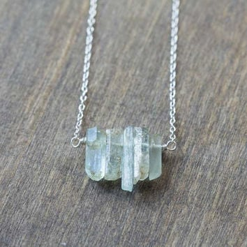 Raw Aquamarine Crystal Necklace on Sterling Silver or Gold Filled Chain, Organic Rustic Rough Aquamarine Jewelry, Raw Gemstone Crystal