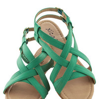 Saunter in the Sand Sandal in Sea | Mod Retro Vintage Sandals | ModCloth.com