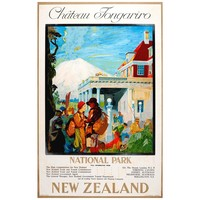 Original 1920s Travel Poster for Chateau Tongariro - National Park - New Zealand