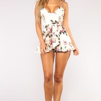 Roam Around Floral Romper - Ivory