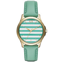 AX Armani Exchange Ladies' Green Strap Striped Dial 3-Hand Watch - Gre