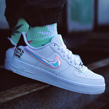 Nike SB Air Force One Joint Video Game Laser White Colorful Reflective Low Top Men's and Women's Sports Shoes