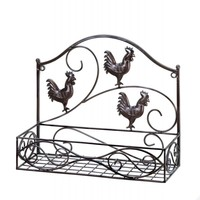 Charming Country Rooster Basket Wall Rack
