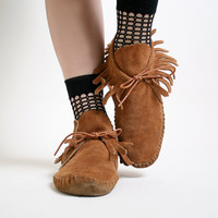 Unique Ankle Fringe Vintage Taos Suede Leather Moccasins by zwzzy