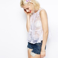 ASOS Top with Buttons and Burn Out Floral