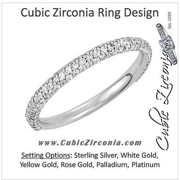 Cubic Zirconia Anniversary Ring Band, *Clearance* Style 04-20 (0.60 TCW Round Pave Band) in Sterling Silver