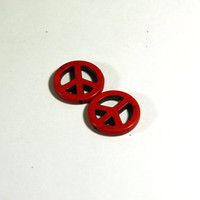 2 Red Peace Sign Beads: Howlite Peace Sign Beads / 25mm / jewelry making / jewelry supply