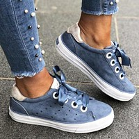 Hot fashion department woven brock breathable fans sports casual shoes Dark Blue
