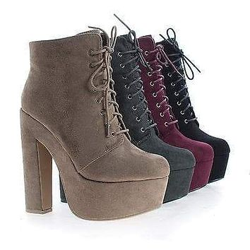 MarinoSL98 By Speed Limit 98, Round Toe Lace Up Platform Chunky High Heel Ankle Booties