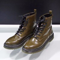 Zara Boots Military Flat Ankle Army Green Goth Street Style Sz 8 US 39 EUR