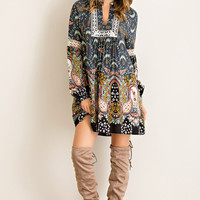 Paisley Dreams Dress - Charcoal